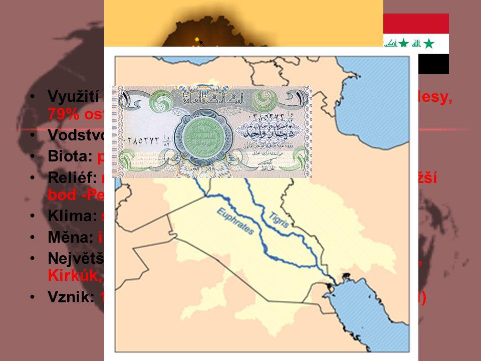 Základní údaje Využití plochy: 12% orná půda, 9% pastviny, 0% lesy, 79% ostatní Vodstvo: nejdelší řeka Eufrat (2760 km),Tigris Biota: pouště a polopou