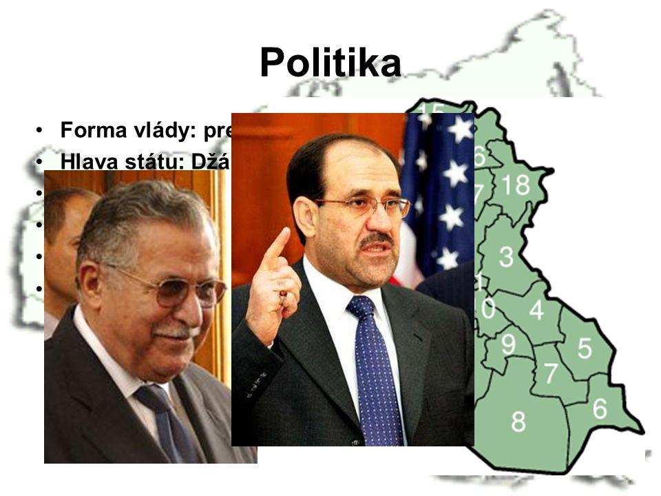 Politika Forma vlády: prezidentská Hlava státu: Džábal Talabání (2006) Předseda vlády: Džavad Maliki (2006) Státní zřízení: republika Členství: OSN, O
