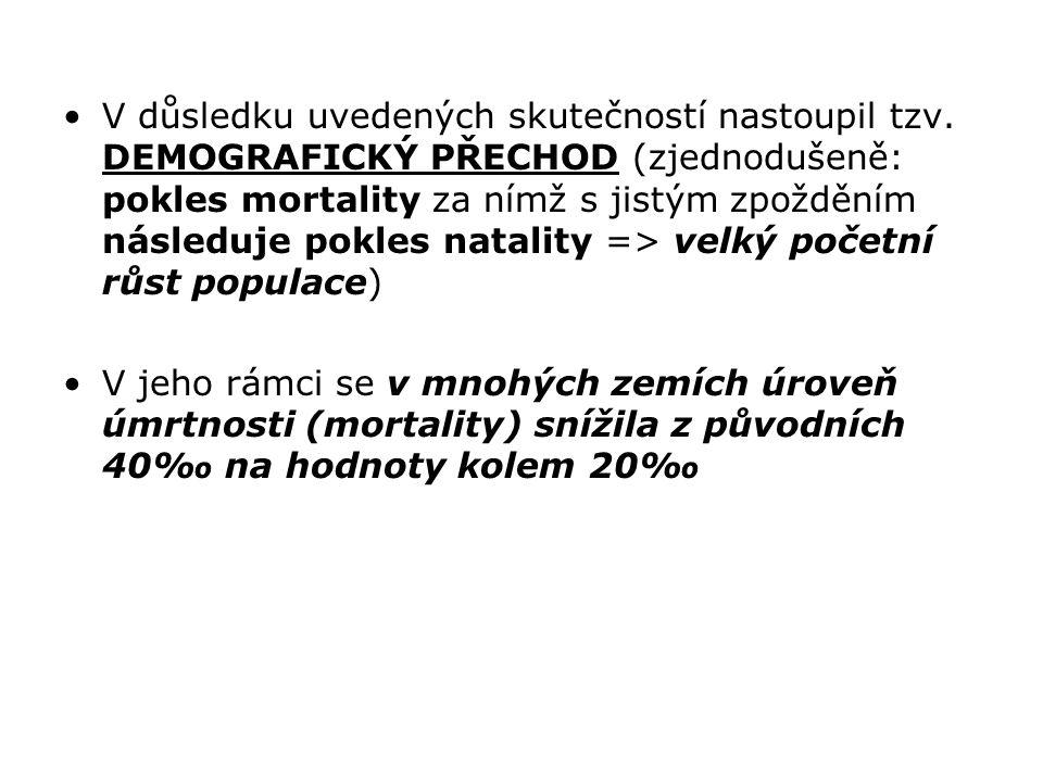 V důsledku uvedených skutečností nastoupil tzv. DEMOGRAFICKÝ PŘECHOD (zjednodušeně: pokles mortality za nímž s jistým zpožděním následuje pokles natal