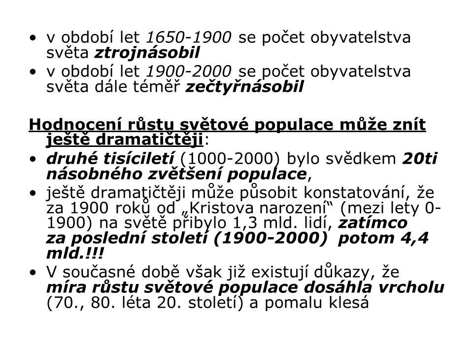 v období let 1650-1900 se počet obyvatelstva světa ztrojnásobil v období let 1900-2000 se počet obyvatelstva světa dále téměř zečtyřnásobil Hodnocení