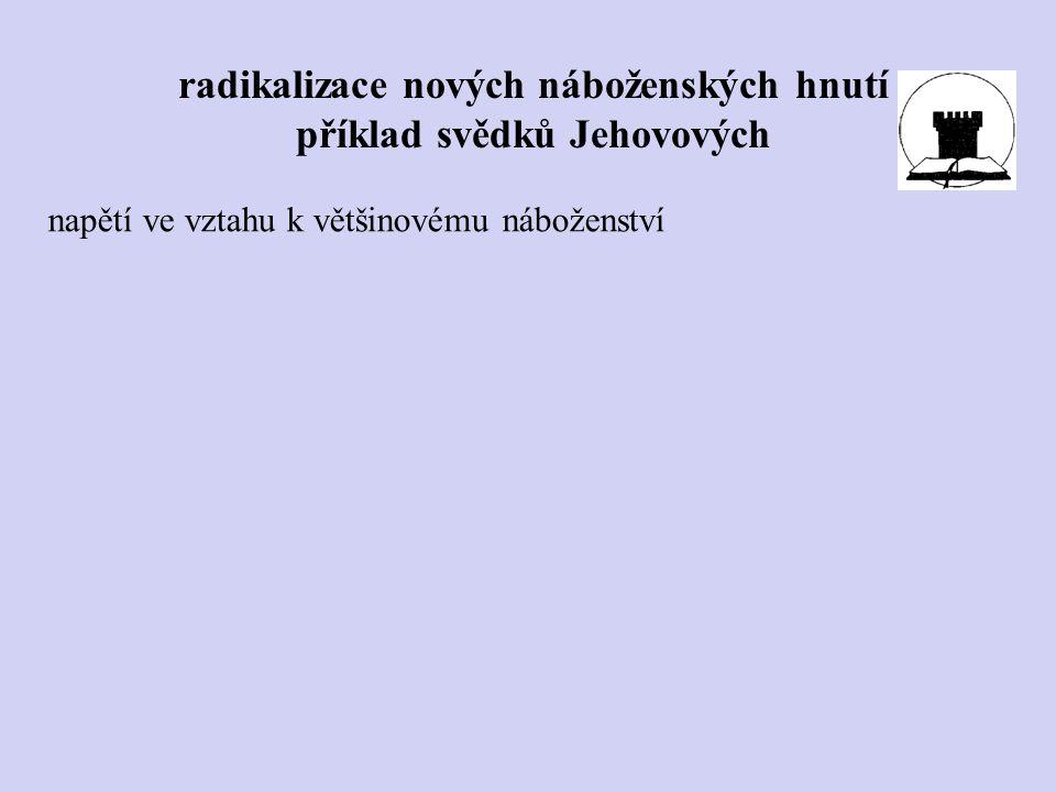 napětí ve vztahu k většinovému náboženství radikalizace nových náboženských hnutí příklad svědků Jehovových
