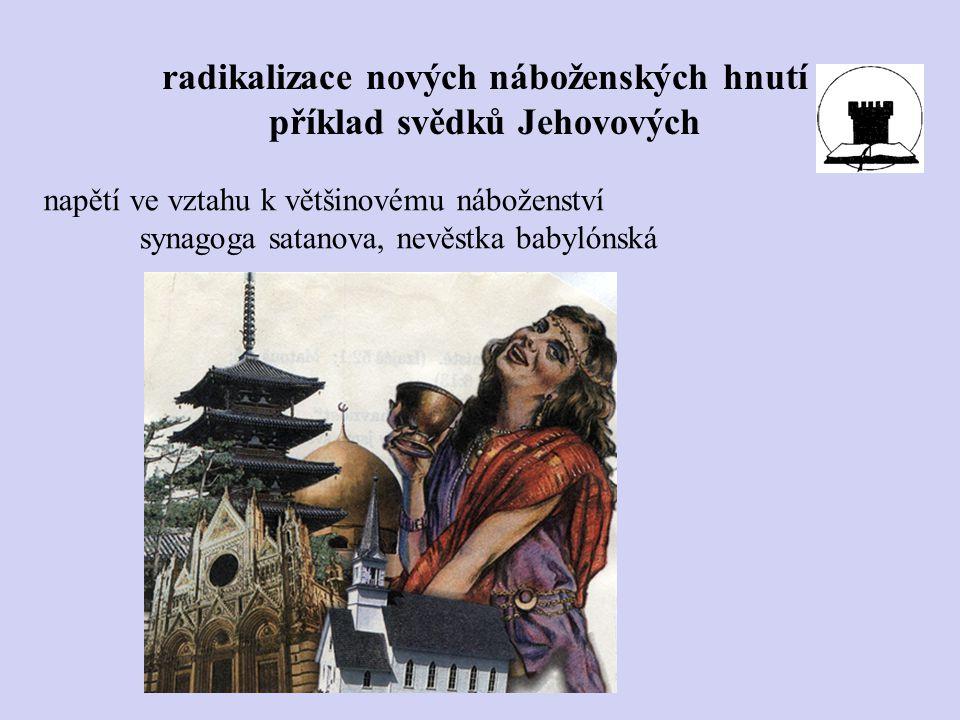 napětí ve vztahu k většinovému náboženství synagoga satanova, nevěstka babylónská radikalizace nových náboženských hnutí příklad svědků Jehovových