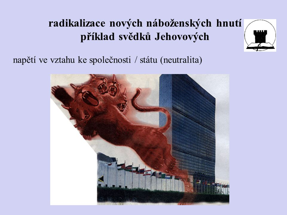 napětí ve vztahu ke společnosti / státu (neutralita) radikalizace nových náboženských hnutí příklad svědků Jehovových