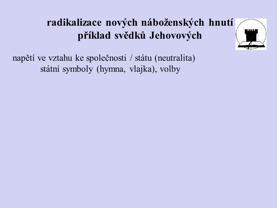 napětí ve vztahu ke společnosti / státu (neutralita) státní symboly (hymna, vlajka), volby radikalizace nových náboženských hnutí příklad svědků Jehov