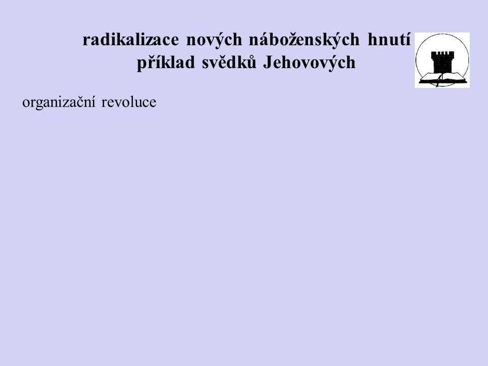 organizační revoluce radikalizace nových náboženských hnutí příklad svědků Jehovových