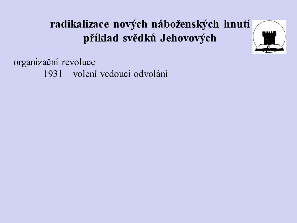 organizační revoluce 1931volení vedoucí odvolání radikalizace nových náboženských hnutí příklad svědků Jehovových