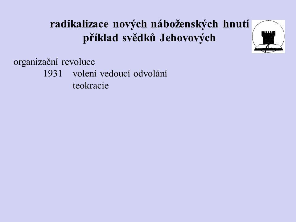 organizační revoluce 1931volení vedoucí odvolání teokracie radikalizace nových náboženských hnutí příklad svědků Jehovových