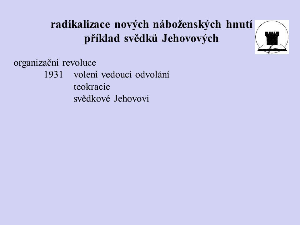 organizační revoluce 1931volení vedoucí odvolání teokracie svědkové Jehovovi radikalizace nových náboženských hnutí příklad svědků Jehovových