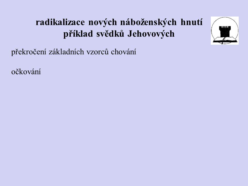 radikalizace nových náboženských hnutí příklad svědků Jehovových překročení základních vzorců chování očkování