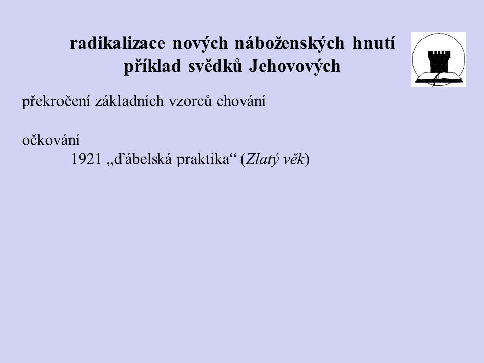 """radikalizace nových náboženských hnutí příklad svědků Jehovových překročení základních vzorců chování očkování 1921 """"ďábelská praktika"""" (Zlatý věk)"""