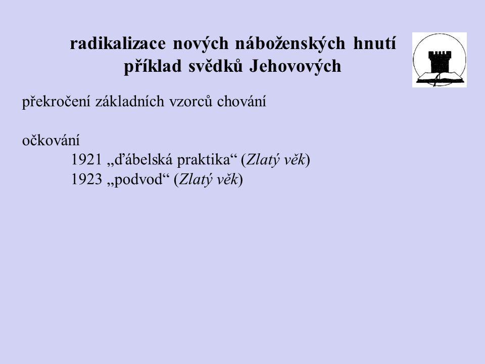 """radikalizace nových náboženských hnutí příklad svědků Jehovových překročení základních vzorců chování očkování 1921 """"ďábelská praktika"""" (Zlatý věk) 19"""