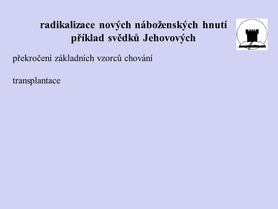 radikalizace nových náboženských hnutí příklad svědků Jehovových překročení základních vzorců chování transplantace
