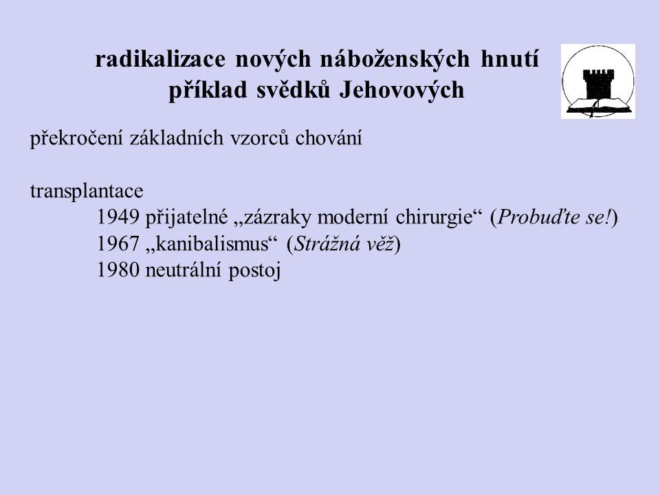 """radikalizace nových náboženských hnutí příklad svědků Jehovových překročení základních vzorců chování transplantace 1949 přijatelné """"zázraky moderní c"""