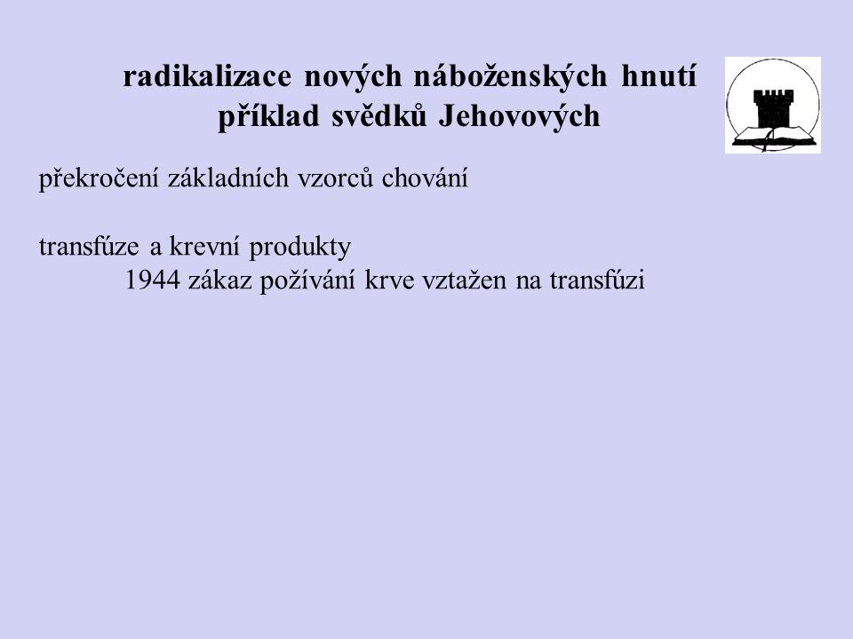 radikalizace nových náboženských hnutí příklad svědků Jehovových překročení základních vzorců chování transfúze a krevní produkty 1944 zákaz požívání