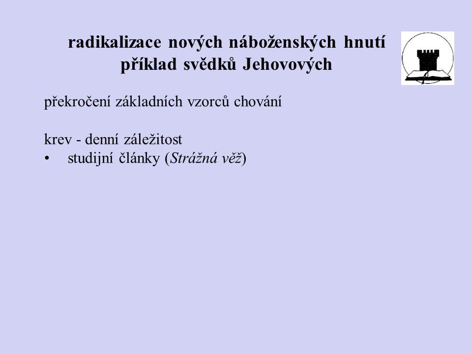 překročení základních vzorců chování krev - denní záležitost studijní články (Strážná věž) radikalizace nových náboženských hnutí příklad svědků Jehov