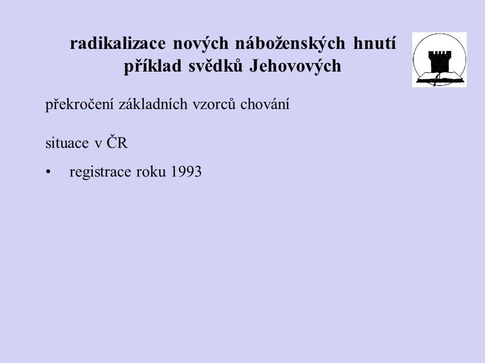 překročení základních vzorců chování situace v ČR registrace roku 1993 radikalizace nových náboženských hnutí příklad svědků Jehovových
