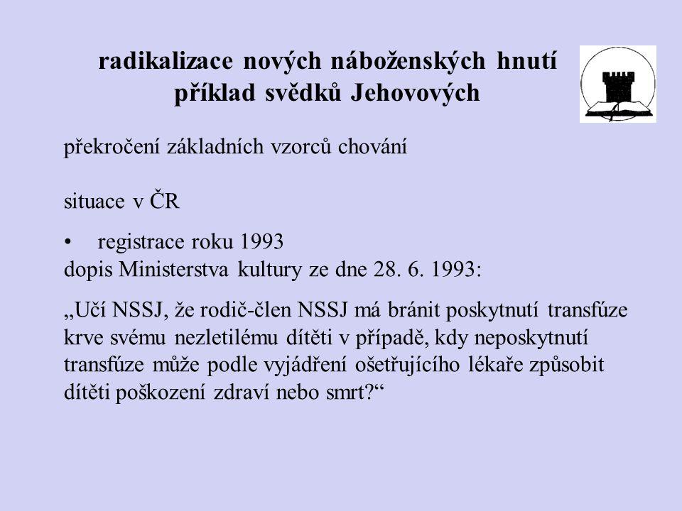 """překročení základních vzorců chování situace v ČR registrace roku 1993 dopis Ministerstva kultury ze dne 28. 6. 1993: """"Učí NSSJ, že rodič-člen NSSJ má"""