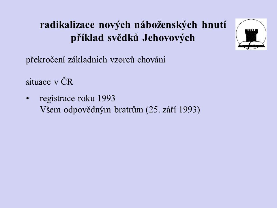 překročení základních vzorců chování situace v ČR registrace roku 1993 Všem odpovědným bratrům (25. září 1993) radikalizace nových náboženských hnutí