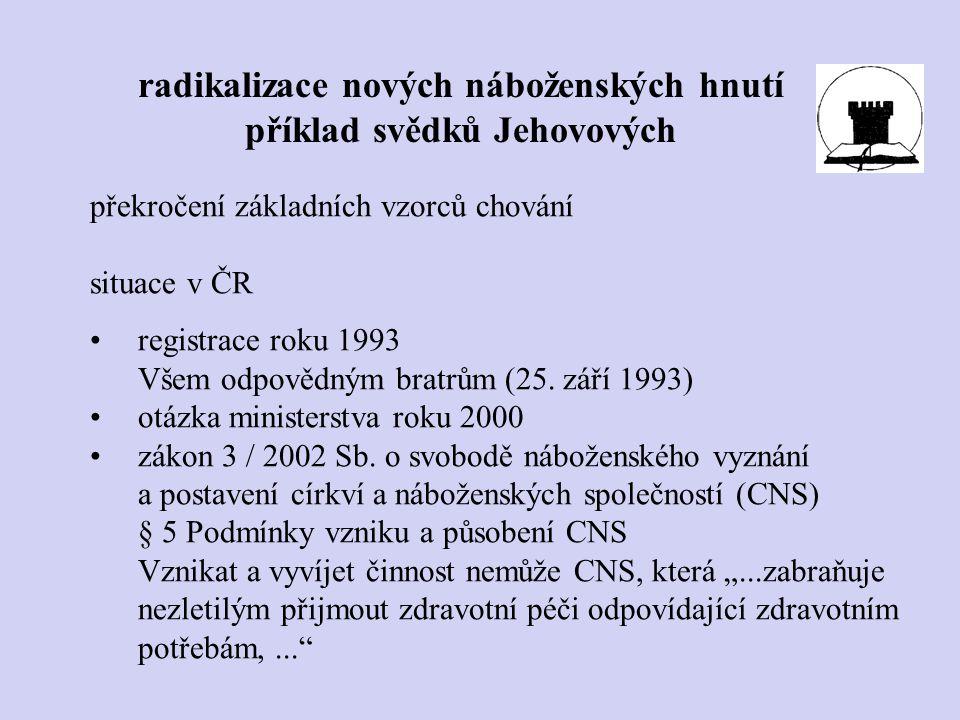 překročení základních vzorců chování situace v ČR registrace roku 1993 Všem odpovědným bratrům (25. září 1993) otázka ministerstva roku 2000 zákon 3 /
