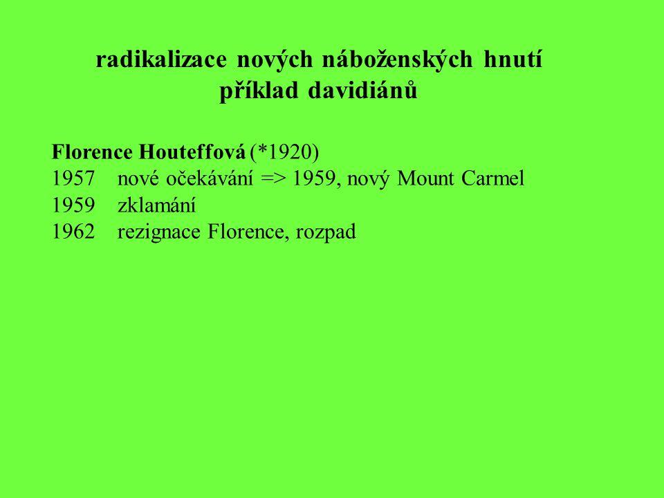 radikalizace nových náboženských hnutí příklad davidiánů Florence Houteffová (*1920) 1957nové očekávání => 1959, nový Mount Carmel 1959zklamání 1962re