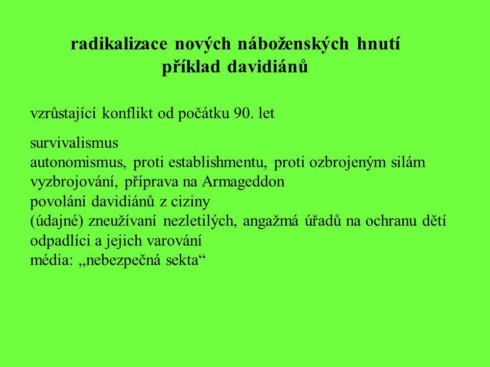 radikalizace nových náboženských hnutí příklad davidiánů vzrůstající konflikt od počátku 90. let survivalismus autonomismus, proti establishmentu, pro