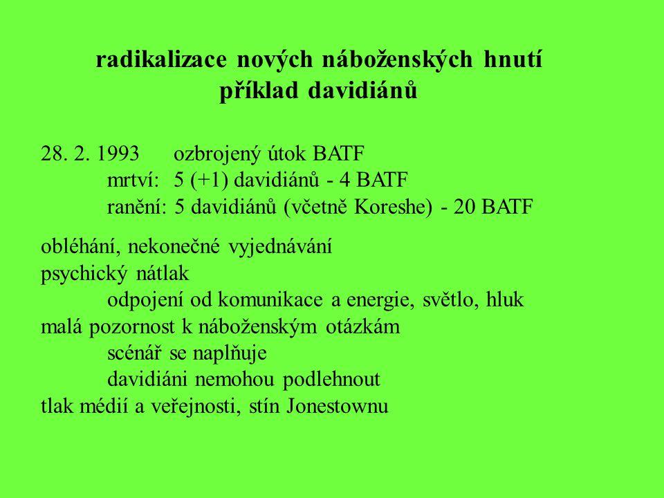 radikalizace nových náboženských hnutí příklad davidiánů 28. 2. 1993ozbrojený útok BATF mrtví: 5 (+1) davidiánů - 4 BATF ranění: 5 davidiánů (včetně K