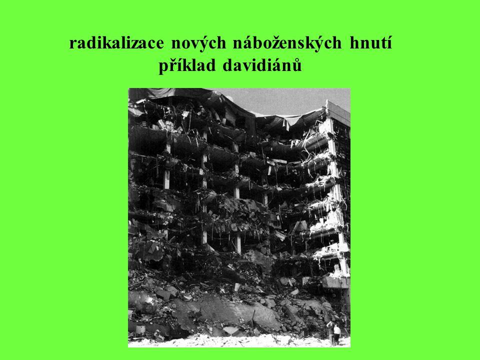 radikalizace nových náboženských hnutí příklad davidiánů