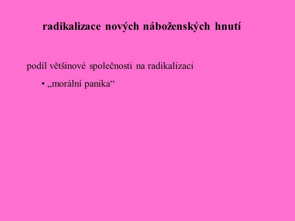 """radikalizace nových náboženských hnutí podíl většinové společnosti na radikalizaci """"morální panika"""""""