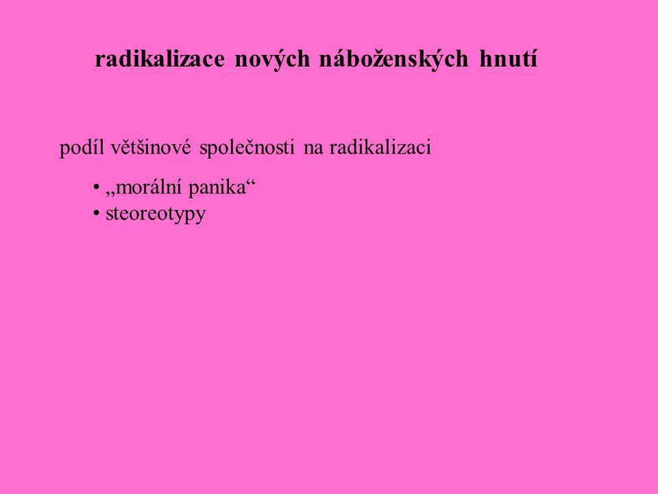 """radikalizace nových náboženských hnutí podíl většinové společnosti na radikalizaci """"morální panika"""" steoreotypy"""