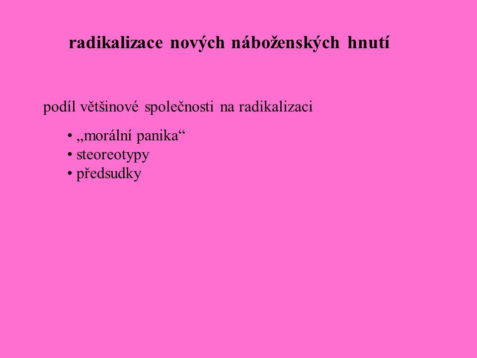 """radikalizace nových náboženských hnutí podíl většinové společnosti na radikalizaci """"morální panika"""" steoreotypy předsudky"""