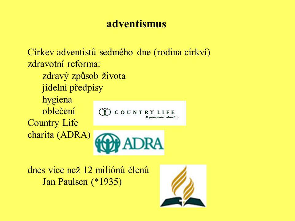 Církev adventistů sedmého dne (rodina církví) zdravotní reforma: zdravý způsob života jídelní předpisy hygiena oblečení Country Life charita (ADRA) dn