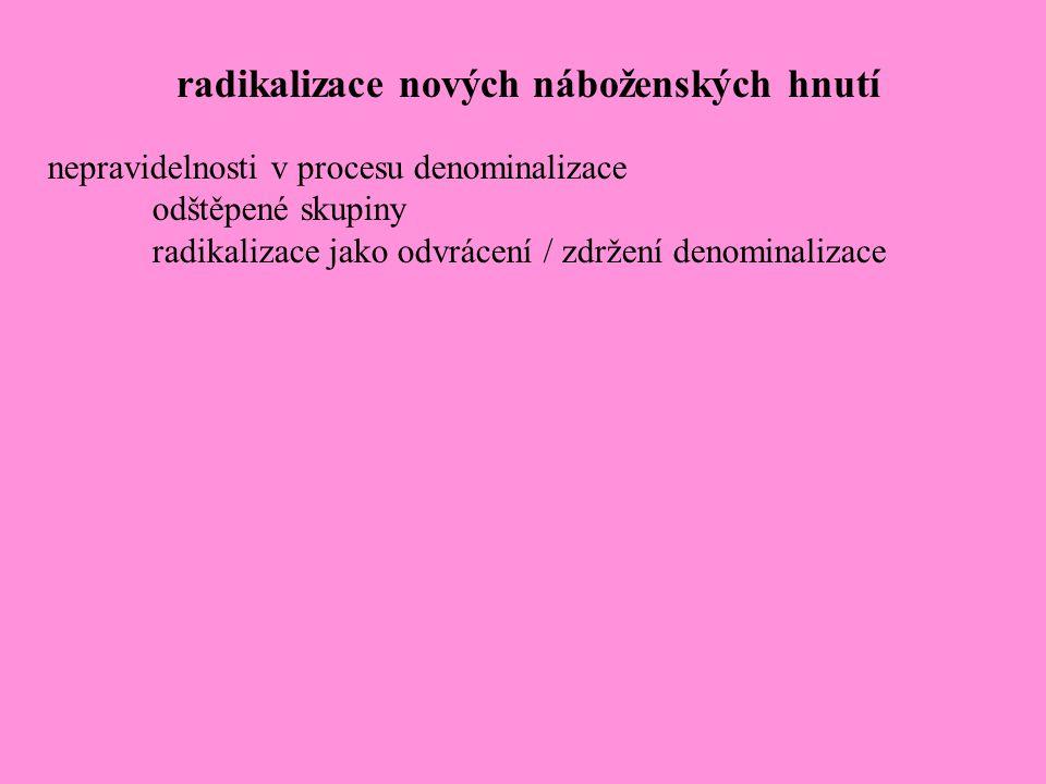 nepravidelnosti v procesu denominalizace odštěpené skupiny radikalizace jako odvrácení / zdržení denominalizace radikalizace nových náboženských hnutí