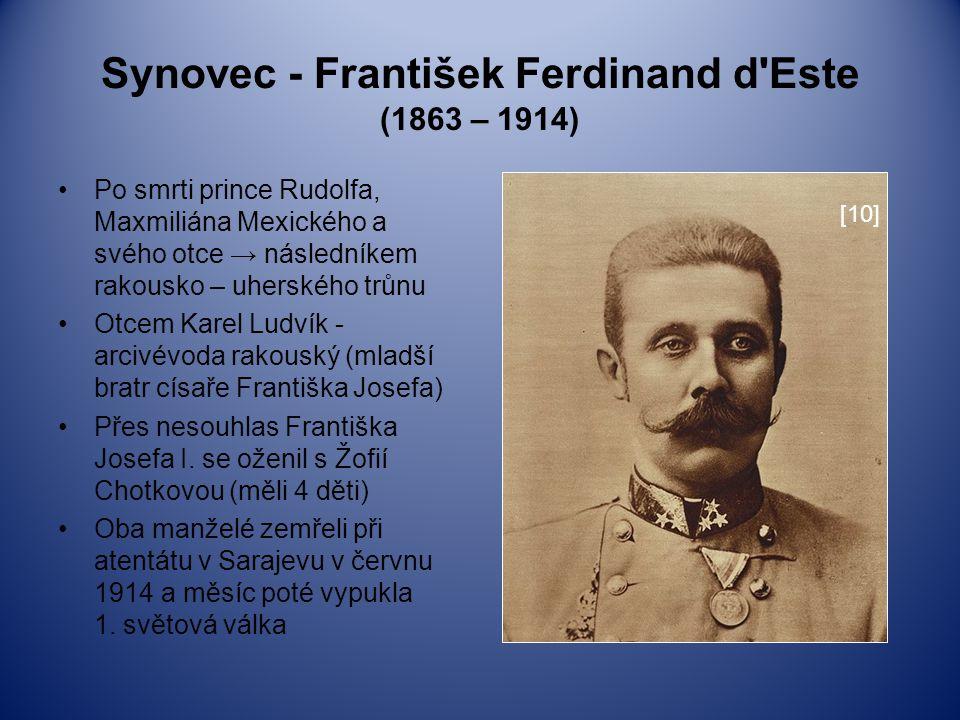 Synovec - František Ferdinand d'Este (1863 – 1914) Po smrti prince Rudolfa, Maxmiliána Mexického a svého otce → následníkem rakousko – uherského trůnu