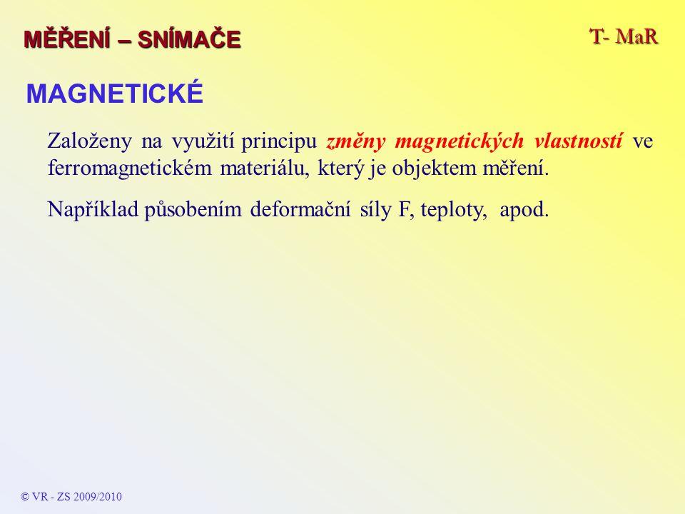T- MaR MĚŘENÍ – SNÍMAČE © VR - ZS 2009/2010 MAGNETICKÉ Založeny na využití principu změny magnetických vlastností ve ferromagnetickém materiálu, který je objektem měření.