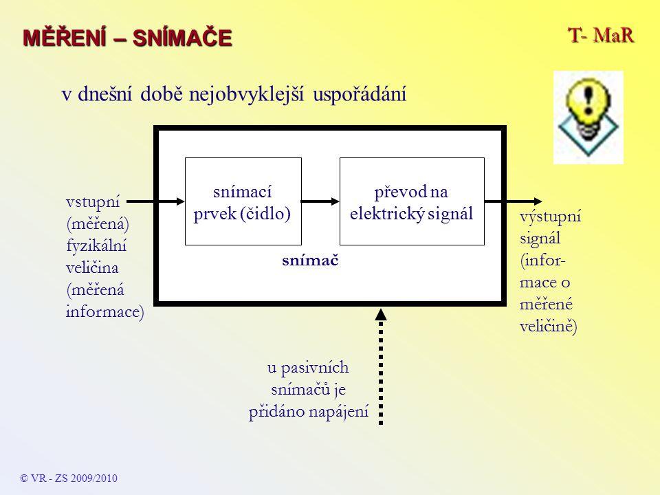 T- MaR MĚŘENÍ – SNÍMAČE © VR - ZS 2009/2010 snímací prvek (čidlo) převod na elektrický signál snímač výstupní signál (infor- mace o měřené veličině) vstupní (měřená) fyzikální veličina (měřená informace) u pasivních snímačů je přidáno napájení v dnešní době nejobvyklejší uspořádání