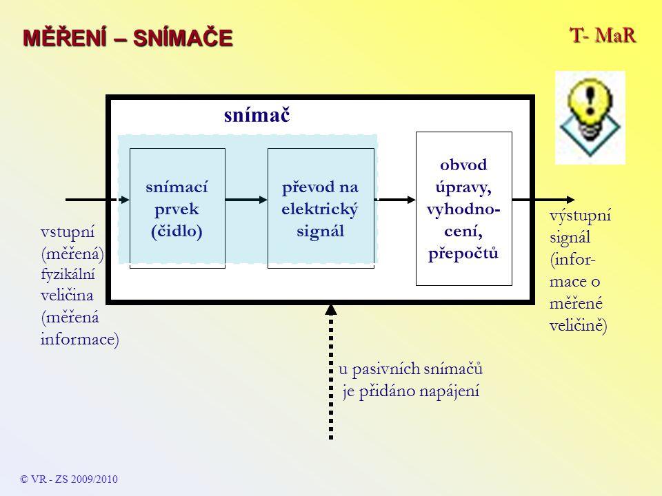 snímací prvek (čidlo) převod na elektrický signál snímač výstupní signál (infor- mace o měřené veličině) vstupní (měřená) fyzikální veličina (měřená informace) obvod úpravy, vyhodno- cení, přepočtů u pasivních snímačů je přidáno napájení T- MaR MĚŘENÍ – SNÍMAČE © VR - ZS 2009/2010