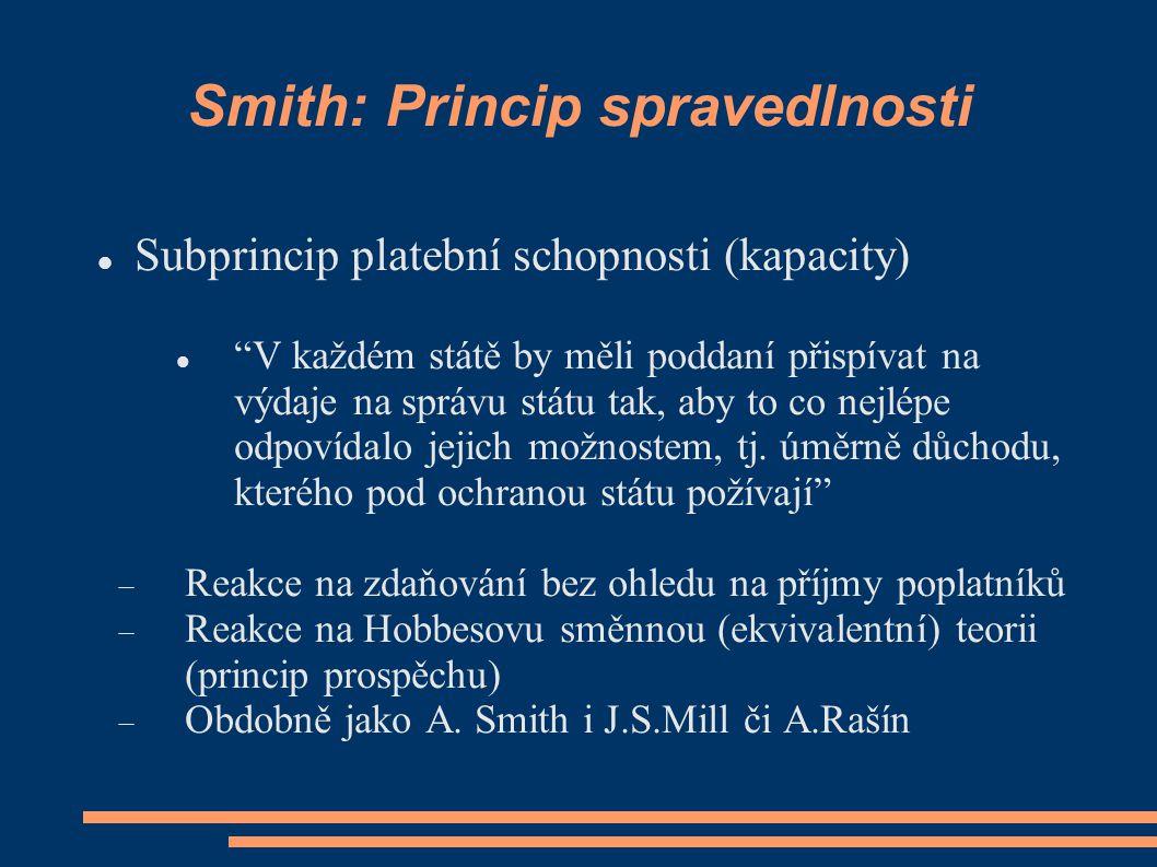 Smith: Princip určitosti Subprincip právní jednoznačnosti (perfektnosti) Daň.