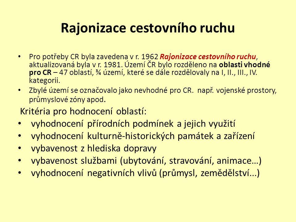 Oblasti I.kategorie Dnes již Rajonizace nevyhovuje potřebám CR, v 80.