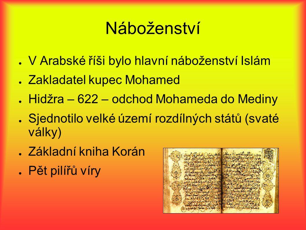 Náboženství ● V Arabské říši bylo hlavní náboženství Islám ● Zakladatel kupec Mohamed ● Hidžra – 622 – odchod Mohameda do Mediny ● Sjednotilo velké úz
