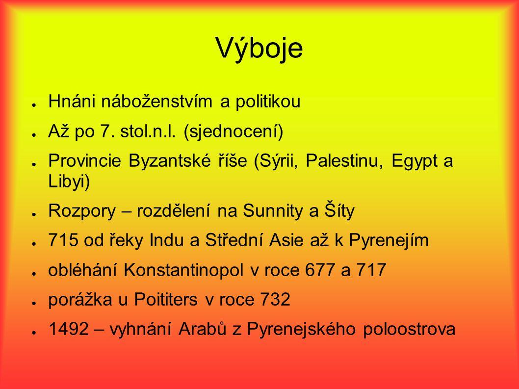 Výboje ● Hnáni náboženstvím a politikou ● Až po 7. stol.n.l. (sjednocení) ● Provincie Byzantské říše (Sýrii, Palestinu, Egypt a Libyi) ● Rozpory – roz