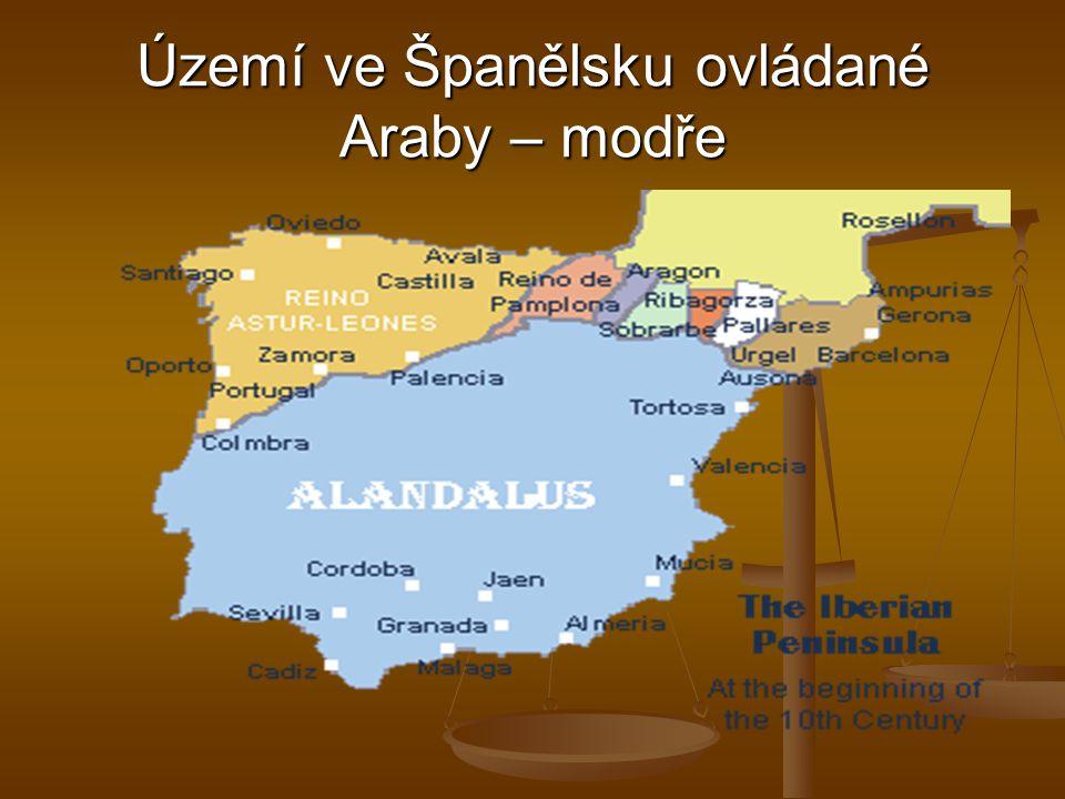 Území ve Španělsku ovládané Araby – modře