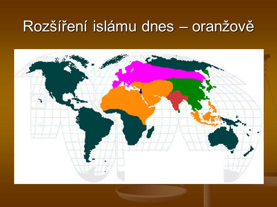 Rozšíření islámu dnes – oranžově