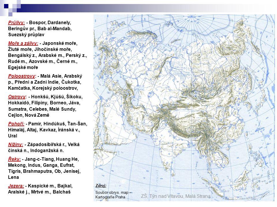 Průlivy: - Bospor, Dardanely, Beringův pr., Bab al-Mandab, Suezský průplav Moře a zálivy: - Japonské moře, Žluté moře, Jihočínské moře, Bengálský z., Arabské m., Perský z., Rudé m., Azovské m., Černé m., Egejské moře Poloostrovy: - Malá Asie, Arabský p., Přední a Zadní Indie, Čukotka, Kamčatka, Korejský poloostrov, Ostrovy: - Honkšú, Kjúšú, Šikoku, Hokkaidó, Filipíny, Borneo, Jáva, Sumatra, Celebes, Malé Sundy, Cejlon, Nová Země Pohoří: - Pamír, Hindúkuš, Ťan-Šan, Himaláj, Altaj, Kavkaz, Íránská v., Ural Nížiny: - Západosibiřská r., Velká čínská n., Indoganžská n.
