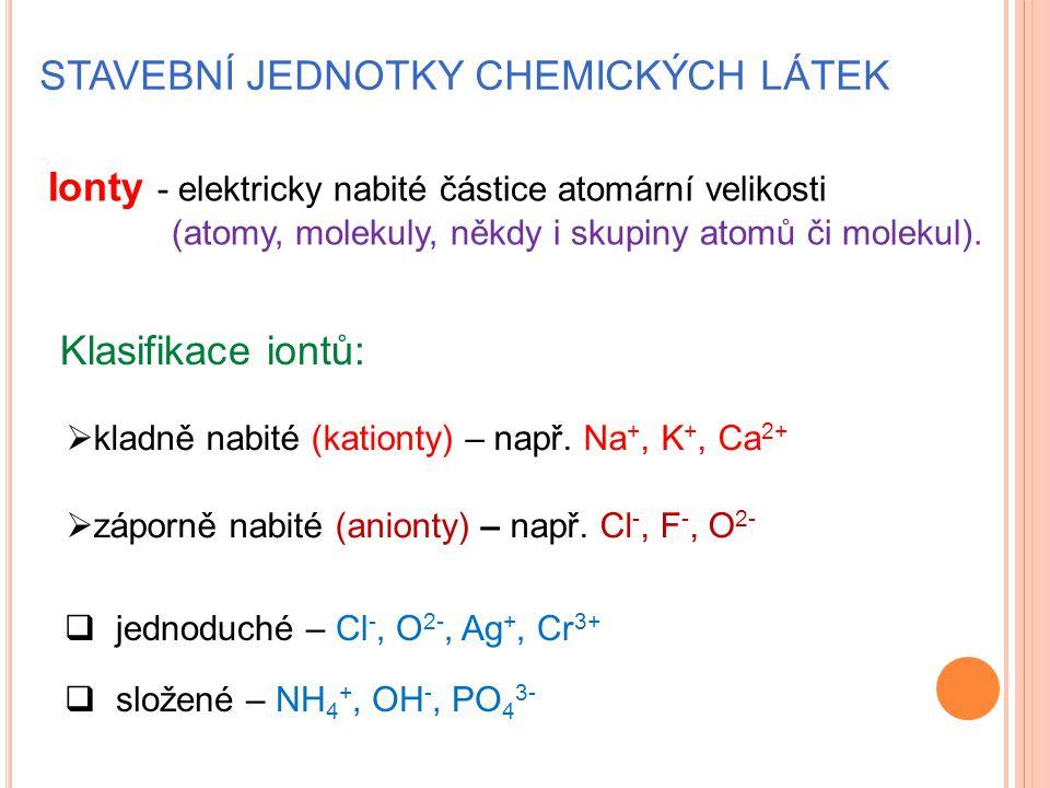 STAVEBNÍ JEDNOTKY CHEMICKÝCH LÁTEK Ionty - elektricky nabité částice atomární velikosti (atomy, molekuly, někdy i skupiny atomů či molekul). Klasifika