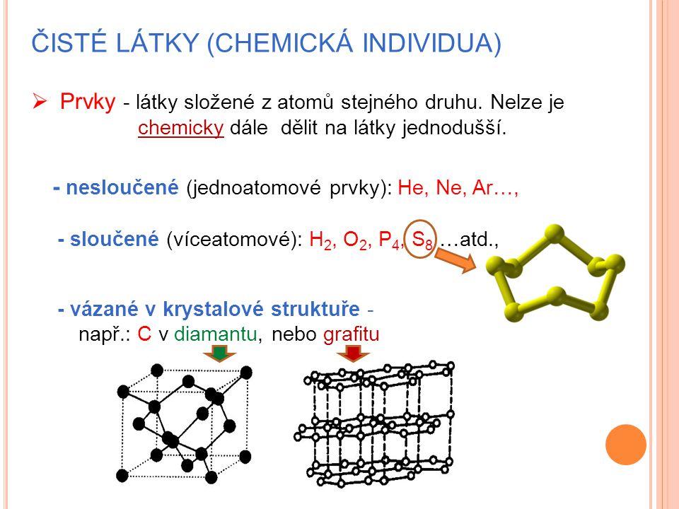 ČISTÉ LÁTKY (CHEMICKÁ INDIVIDUA)  Prvky - látky složené z atomů stejného druhu. Nelze je chemicky dále dělit na látky jednodušší. - nesloučené (jedno