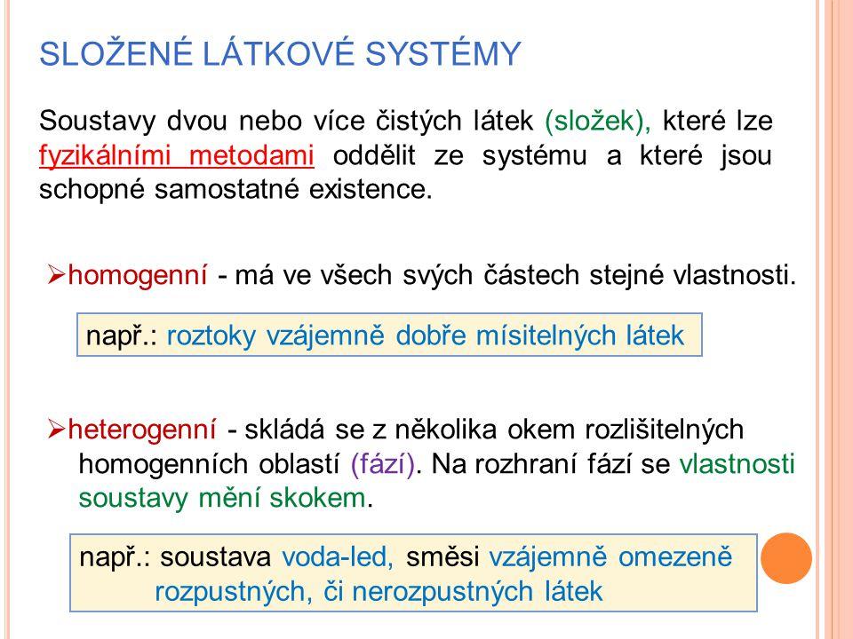 SLOŽENÉ LÁTKOVÉ SYSTÉMY Soustavy dvou nebo více čistých látek (složek), které lze fyzikálními metodami oddělit ze systému a které jsou schopné samosta