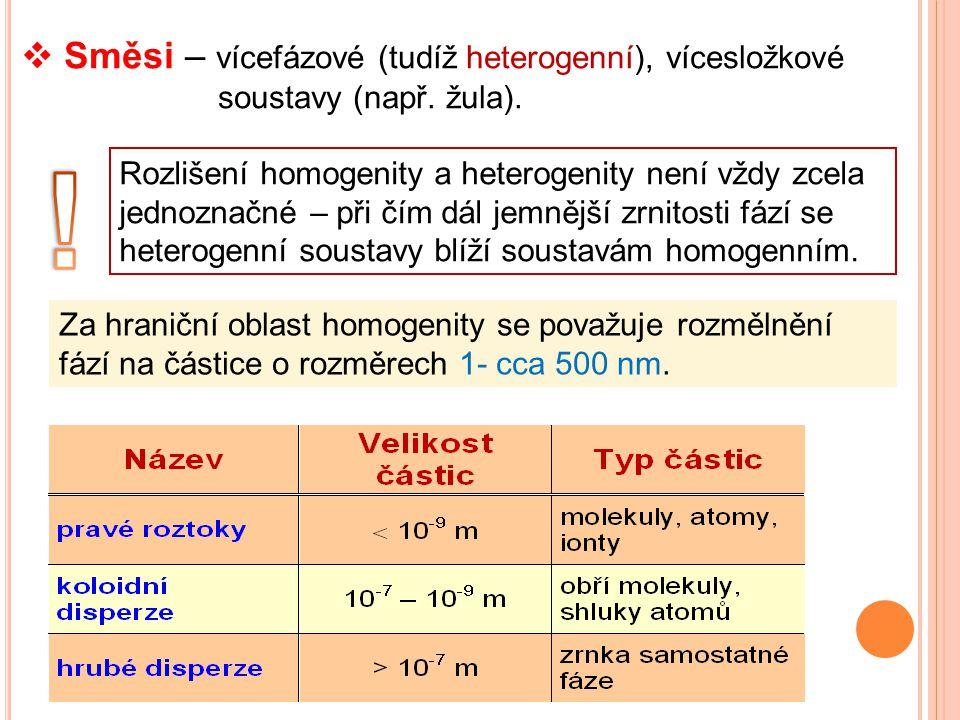  Směsi – vícefázové (tudíž heterogenní), vícesložkové soustavy (např. žula). Rozlišení homogenity a heterogenity není vždy zcela jednoznačné – při čí