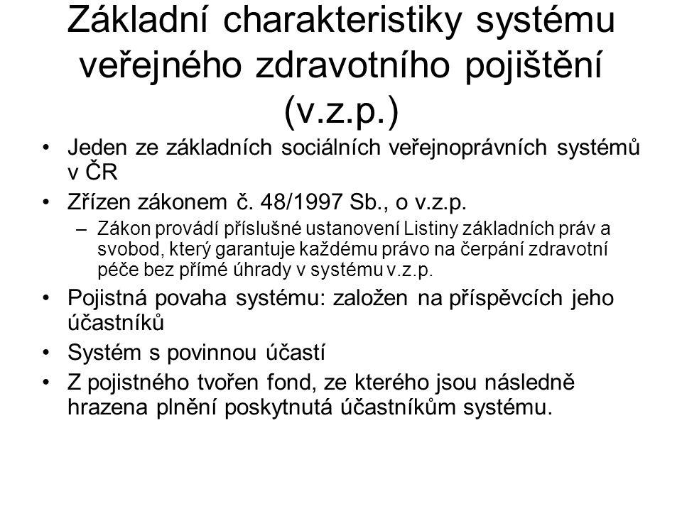 Základní charakteristiky systému veřejného zdravotního pojištění (v.z.p.) Jeden ze základních sociálních veřejnoprávních systémů v ČR Zřízen zákonem č