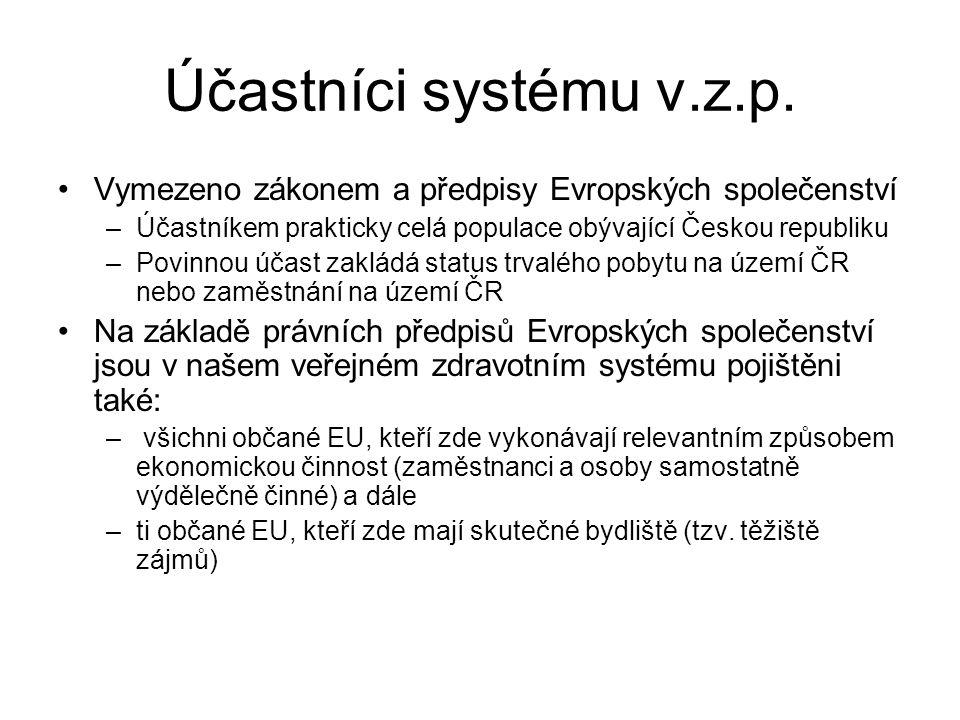 Účastníci systému v.z.p. Vymezeno zákonem a předpisy Evropských společenství –Účastníkem prakticky celá populace obývající Českou republiku –Povinnou
