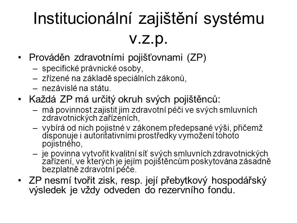 Institucionální zajištění systému v.z.p. Prováděn zdravotními pojišťovnami (ZP) –specifické právnické osoby, –zřízené na základě speciálních zákonů, –